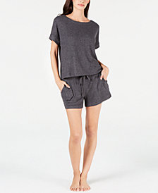 Alfani Ribbed Hacci Sleep Top & Pajama Shorts Sleep Separates, Created for Macy's
