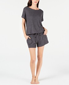 Alfani Ribbed Hacci Sleep Top & Pajama Shorts Sleep Separates, Created for Macy's
