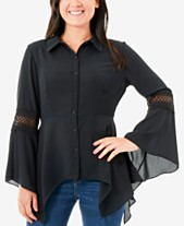 05441d47b5a451 NY Collection Illusion-Trim Handkerchief Hem Shirt