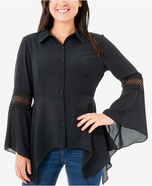 NY Collection Illusion-Trim Handkerchief Hem Shirt
