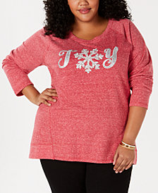 Style & Co Plus Size Embellished Graphic Sweatshirt, Created for Macy's