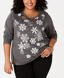 Style & Co Plus Size Snowflake-Graphic Sweatshirt, Created for Macy's
