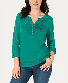 Karen Scott Petite Cotton Crochet-Trim Henley Top, Created for Macy's