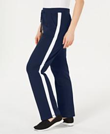 Karen Scott Petite Colorblocked-Side Pants, Created for Macy's