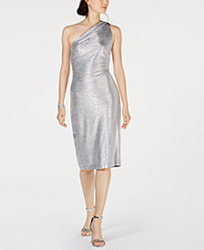 Connected One-Shoulder Metallic Sheath Dress