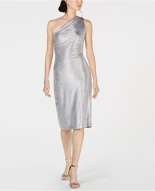 Connected One-Shoulder Metallic Sheath Dress