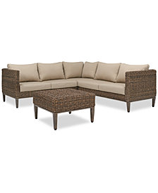 La Palma Outdoor 4-Pc. Sectional Seating Set (1 Right-Arm Loveseat Sectional, 1 Corner Sectional, 1 Left-Arm Loveseat Sectional And 1 Coffee Table), Created For Macy's