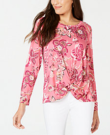 Style & Co Petite Twist-Hem Top, Created for Macy's