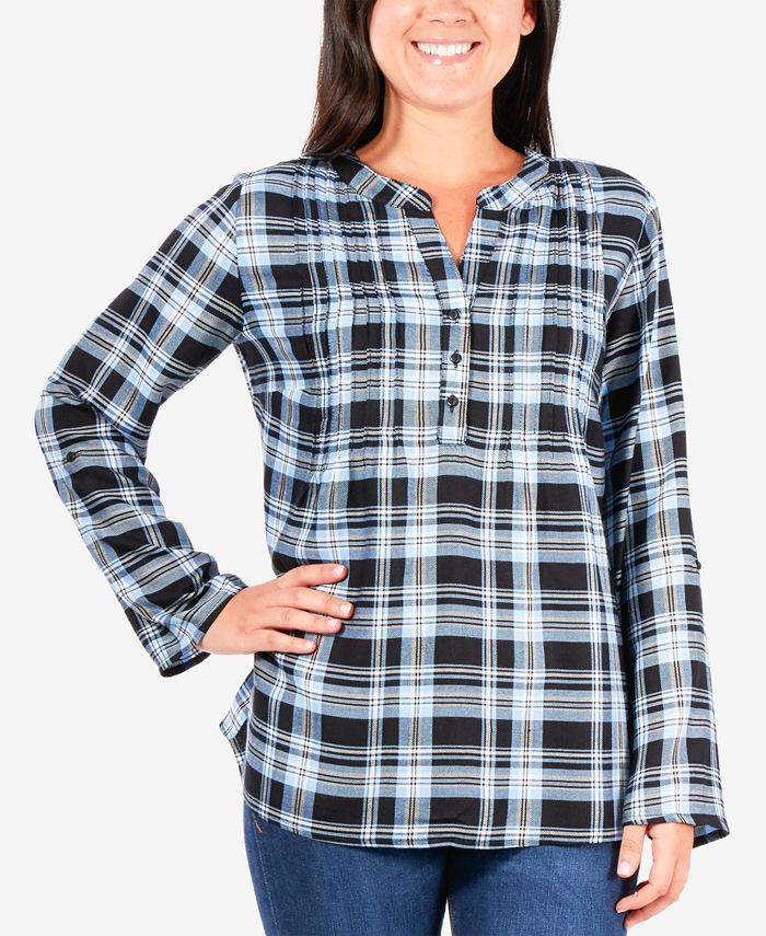 NY Collection - Plaid Henley Top
