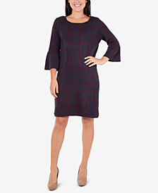 NY Collection Plaid Jacquard Dress