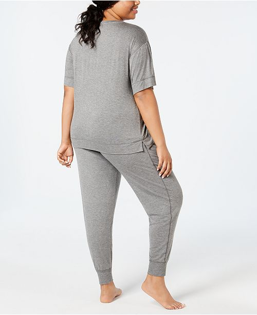 692727d68d ... Jenni by Jennifer Moore Plus Size Graphic-Pocket Pajama Top   Printed  Jogger Pajama Pants ...