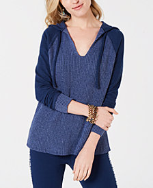 Style & Co Mixed-Knit Hoodie Sweater, Created for Macy's