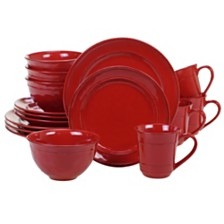 Certified International Orbit Solid Color - Red 16-Pc. Dinnerware Set