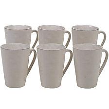 Certified International Harmony Solid Color - Cream 6-Pc. Mug 15oz Set