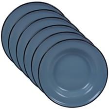 Certified International Enamelware - Teal 6-Pc. Salad Plate