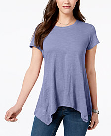 Style & Co Handkerchief-Hem T-Shirt, Created for Macy's