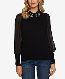 CeCe Mixed-Media Embellished Sweater