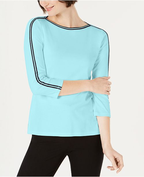 Charter Club Petite Cotton Athletic-Trim Top, Created for Macy's