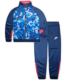 Nike Little Boys 2-Pc. Camo Colorblocked Track Jacket & Pants Set