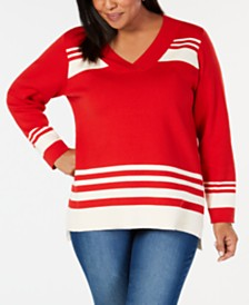 Charter Club Plus Size Striped V-Neck Sweater, Created for Macy's