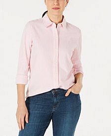 Charter Club Petite Cotton Striped Shirt, Created for Macy's