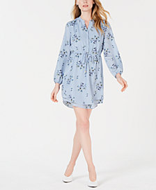 Maison Jules Printed Tie-Waist Long-Sleeve Dress, Created to Macy's