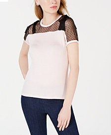 Maison Jules Swiss Dot Bow-Shoulder Top, Created for Macy's