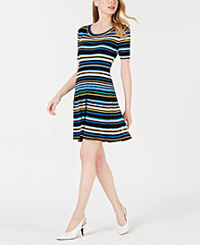 Maison Jules Striped A-Line Sweater Dress, Created for Macy's