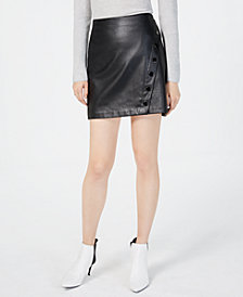 I.N.C. Faux-Leather Wrap Skirt, Created for Macy's