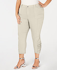 I.N.C. Plus Size Ruched-Hem Cropped Pants, Created for Macy's