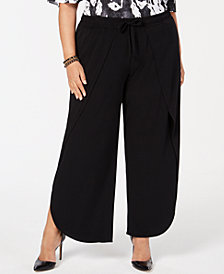 I.N.C. Plus Size Soft Overlay Wide-Leg Pants, Created for Macy's