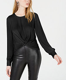 Bar III Twist-Front Blouse, Created for Macy's