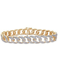 Men's Diamond Link Bracelet (1 ct. t.w.) in 14k Gold-Plated Sterling Silver and Sterling Silver