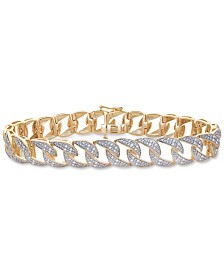 Men's Diamond Link Bracelet (1 ct. t.w.) in Sterling Silver & 14k Gold-Plate
