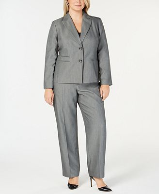 Le Suit Plus Size 2 Button Tonal Striped Pantsuit Wear To Work