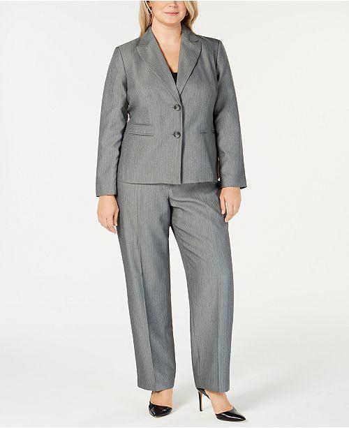 fd1c51ea253ef Le Suit Plus Size 2-Button Tonal Striped Pantsuit   Reviews - Wear ...
