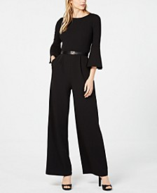 Belted Bell-Sleeve Jumpsuit