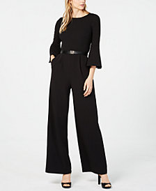 Calvin Klein Belted Bell-Sleeve Jumpsuit