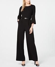 Calvin Klein Belted Bell-Sleeve Jumpsuit