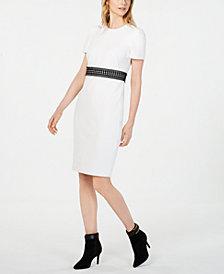 Calvin Klein Lace-Stripe Sheath Dress