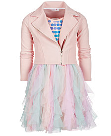 Beautees Big Girls 2-Pc. Moto Jacket & Dress Set