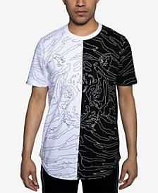 Sean John Mens Floating Tiger Split Graphic T-Shirt