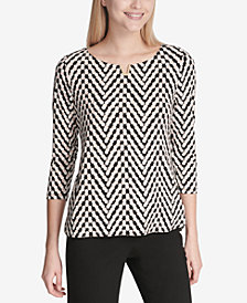 Calvin Klein Printed Notch-Neck Top