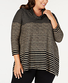 JPR Plus Size Striped Cowl-Neck Tunic