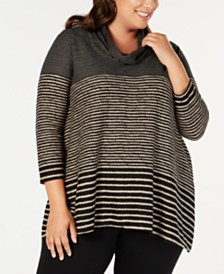 John Paul Richard Plus Size Striped Cowl-Neck Tunic
