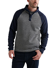 Lucky Brand Mne's Shearless Fleece Colorblock Mockneck Henley Sweatshirt