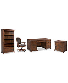 Clinton Hill Cherry Home Office, 4-Pc. Set (Executive Desk, Lateral File Cabinet, Open Bookcase & Leather Desk Chair), Created for Macy's