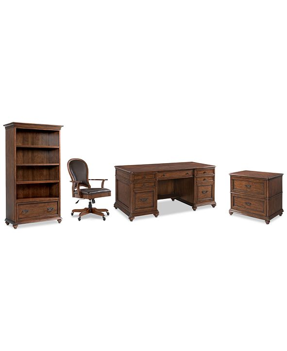 Furniture Clinton Hill Cherry Home Office, 4-Pc. Set (Executive Desk, Lateral File Cabinet, Open Bookcase & Leather Desk Chair), Created for Macy's