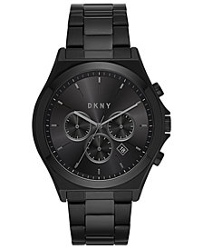 DKNY Men's Chronograph Parsons Black Stainless Steel Bracelet Watch 44mm, Created For Macy's