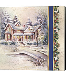 Winter House With Snow and Mistletoe by DBK-Art Licensing Canvas Art